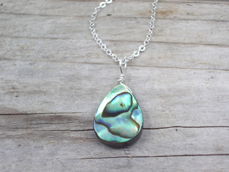 abalone necklace paua shell pendant abalone jewelry silver