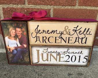 Romantic and Elegant Personalized Mr and Mrs Engagement Stackers made of Wood - With photo