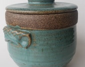 Round Stoneware Footed Jar with Lid and Handles. Nice for Storage or Display, Turquoise