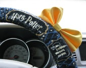 Steering Wheel Cover Bow, Steering Wheel Cover Harry Potter with Yellow Bow, Stars Lightning Bolt Potter Wheel Cover Blue Gold Bow BF11274