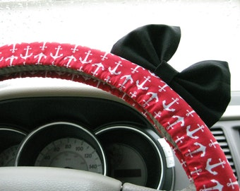 Steering Wheel Cover Bow, Red Anchor Steering Wheel Cover with Black Bow BF11177