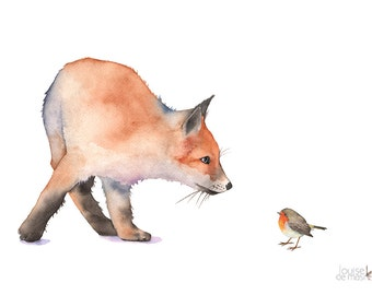 Fox print of watercolor painting, F7916, fox watercolor painting, fox painting, fox and robin art, woodland animal painting, 5 by 7 size
