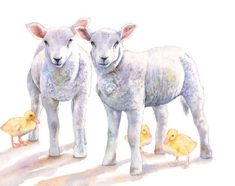 Lamb print of watercolor painting LD2216, lambs painting, duckling print, art for baby, nursery print A3 size print, nursery print