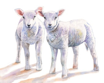 Lamb print of watercolour painting A3 size largest print L8315 - Nursery art for baby - country kitchen decor