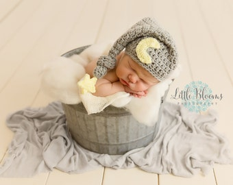 Baby Moon Hat, Newborn Photo Prop, Sleepy Time Hat, Moon And Star Hat, Newborn Stocking Cap, Newborn Elf Hat, Infant Longtail Hat