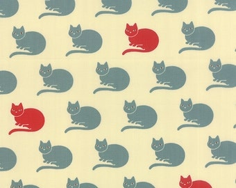 Lucky Nico by Momo Designs - Novelty Cat - Ivory,Aqua,Red - Moda 16133 12