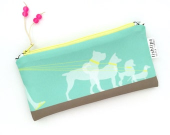 Dog Walker Recycled Canvas Zipper Pouch, Puppy Pencil Bag + Glass Bead Tassel, Handmade Gift for Animal Lover, Aqua Blue Zippered Pouch