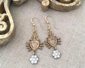 Mixed Metal Rhinestone Earrings - Religious Sacred Heart Earrings - Vintage Repurposed Rhinestone Dangle Earrings