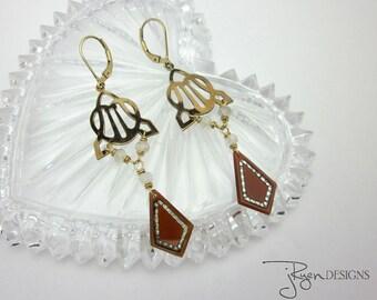 Repurposed Art Deco Earrings - Unique Art Deco Dangle Earrings - Gold Filled Gemstone Earrings - Handmade Art Deco Earrings