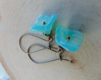 30% Off Any Order Aqua Czech Glass Flower  Earrings,Aqua Flower Earrings