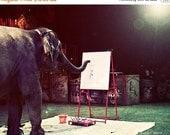 65% OFF Whimsical Circus Elephant Photograph - Elephant Artiste - Magical Performing Artist Painter - 8x10 Fine Art Photo Print