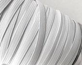 """1/4"""" Skinny Elastic - White Flat FOE White Fold Over Elastic -  FOE 1/4"""" inch Baby Headbands - 5 or 10 yards White  Skinny Elastic 7mm"""