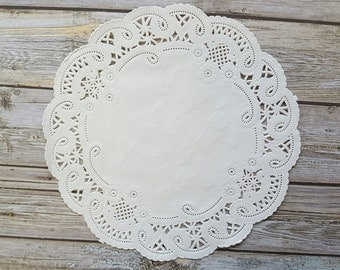 """25 French Lace Round Paper Doilies - 8 inch white doily - 8"""" Medium"""
