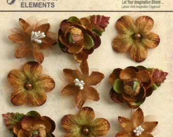 "fabric flowers -Brown Mocha 1"" mini blossoms (9pcs) accent flowers applique flowers embellishments small mixed textured flowers  1263-202"