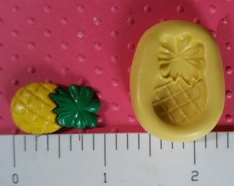 PINEAPPLE mold flexible silicone mold for polymer clay fondant cake pops miniature food cold porcelain gumpaste luau toppers luau edible
