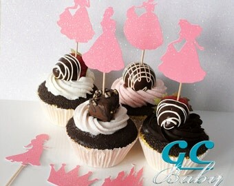 CUSTOM Princess Cupcake Toppers & Centerpiece Picks - ANY Color in Glitter, Metallic, Holographic Paper