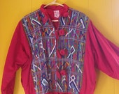 on sale Guatemalan Coat/Red Ethnic Jacket/Puffy 80s Coat/Embroidered Guatemalan Coat/Boho Fashion/Large Buttons/Art to WearVintage Coat