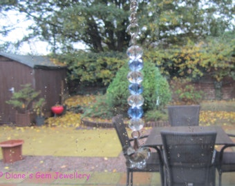 A pretty handmade crystal suncatcher window charm car charm Xmas decoration in blue and clear  #198 UK seller