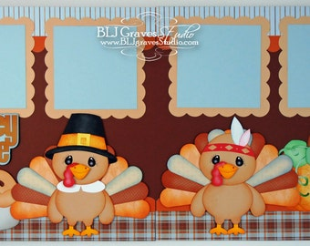 2 Premade Scrapbook Pages 12x12 Layout Paper Piecing Thanksgiving Fall Turkey Time Handmade 84