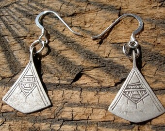 Niger Tuareg silver hand engraved drop triangle earrings with silver hooks