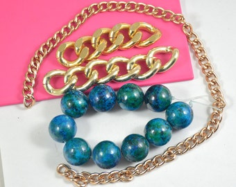 10Beads Round Synthetic Azurite Malachite Beads 18mm, Loose Gemstone beads ,Plated Gold Aluminum Chain Fit your Handmade Jewelry Necklace