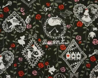 Alice in Wonderland, black, 1/2 yard, pure cotton fabric