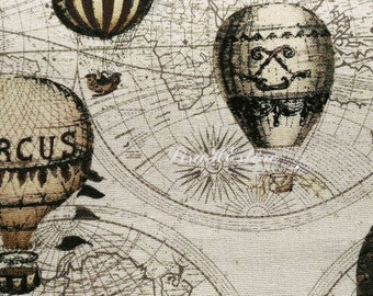 Hot air balloons in smokey-brown and butter yellow, 1/2 yard, pure cotton fabric