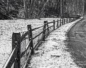 Old Fence in Snow, Winter Landscape Photograph, Bucks County, Pennsylvania, Rustic, Black and White, Fine Art Photography, Monochrome Art