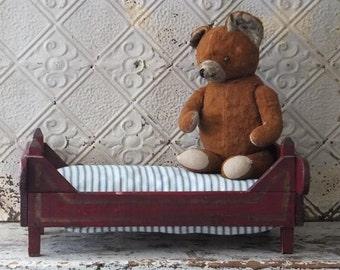 Antique Red Wooden Doll Bed Toy, Primitive Folk Art Toys