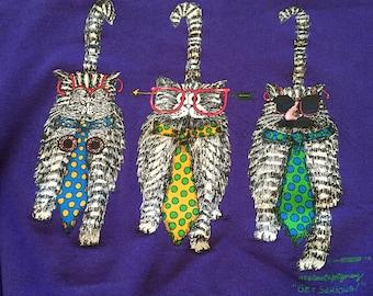 """Vintage Cats """"Get Serious"""" Purple Crew Neck Sweatshirt"""