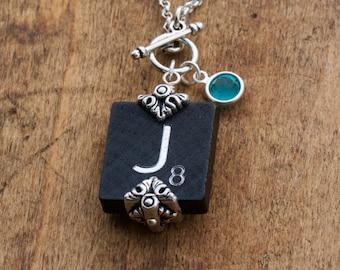 Scrabble Letter Jewelry-Scrabble Birthstone Necklace -Black Scrabble Tile- Letter J-Swarovski Element- Silver Accents-Vintage Wooden Tiles