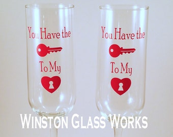 Ready To Ship - Set of 2 - Key To My Heart Champagne Flutes, Wedding Toast