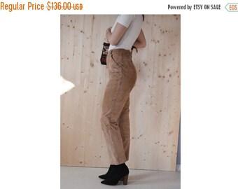 SALE Vintage ESCADA leather pants womens beige leather pants Escada sport suede pants S/M