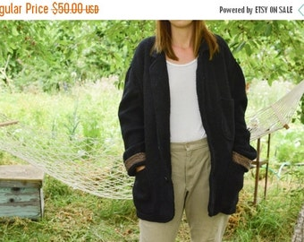 SALE Black  sweater coat knitted coat Vintage 80's oversized sweater mohair blend