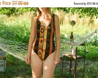 SALE One Piece Swimsuit aztec print swimsuit onepiece  swimwear Vintage 80'S