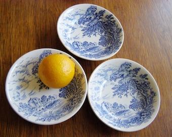 Wedgwood Countryside - Blue and White Sauce Bowls, SET of 3 - English China