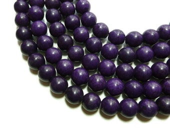 Purple Howlite - 12mm Round Bead - Full Strand - 33 beads - Grape - Violet- Eggplant - Synthetic Turquoise