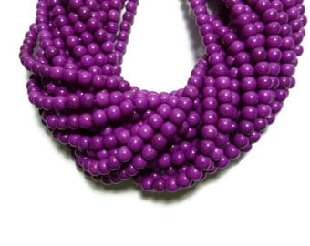 Red Violet Howlite - 6mm Round Bead - Full Strand - 73 beads - Purple Magenta Lilac - synthetic turquoise