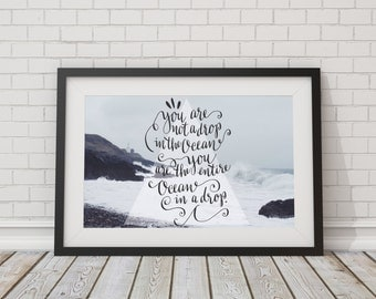 Drop in the ocean Typography print ~ Fine art Photography