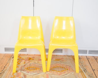 Retro Vintage Borag Wagner Yellow Chairs