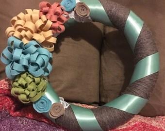 Shabby Chic Summer Felt and Yarn Wreath