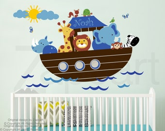 Children Wall Decal Noah's Ark with Personalized Name Wall Decal