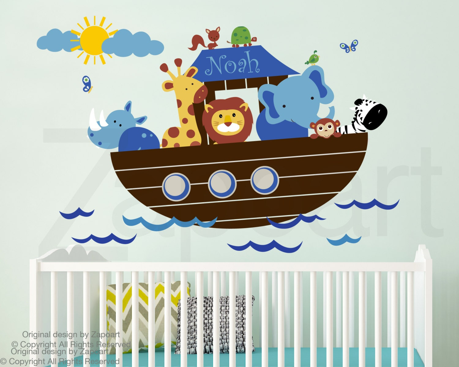 Children wall decal noahs ark with personalized name wall zoom amipublicfo Gallery
