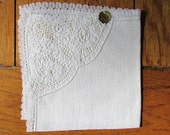 Vintage Handkerchief with one corner lace detail