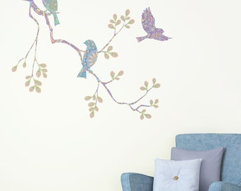 Pastel Birds on Tree Branch Wall Decal Set