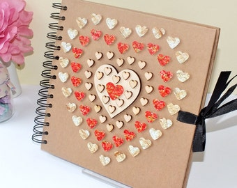 "Rustic Scrapbook Album - Wedding Guest Book - Photo Album - Hand Decorated - 8 x 8"" Red & Gold Love Hearts - Scrap Book - Wedding Scrapbook"