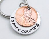 Personalized Anniversary Gift for Men - Years & Counting Collection - Personalized KeyChain - Hand Stamped
