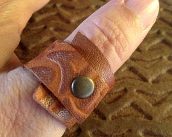 Soft Leather Ring - Natural Brown - Wrapped Around Ring - Cool Leather Jewelry for women and for men