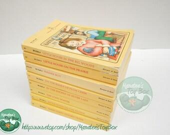 Vintage Laura Ingalls Wilder Books Set of 8 Yellow Paperbacks 1970s Printings