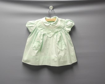 Vintage Baby Clothes, 1950's Mint Green and White Baby Girl Dress, Vintage Baby Dress, Green Baby Dress, Cotton Baby Dress, Size 6 Months